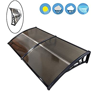 FCH 80  x 40  Front Door Cover Outdoor Window Awning Modern Polycarbonate Snow Rain Protection Patio Canopy Sun shetter (80  x 40 , Brown with black edge)