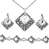 Juego de joyas de plata de ley 925 con textura cuadrada de guijarro, diseño abstracto, collar y pulsera para mujer