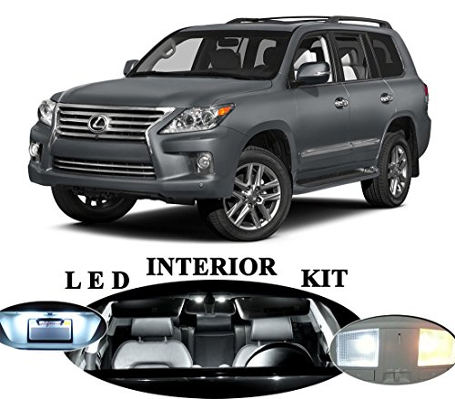 LED Lights for Lexus LX-570 Xenon White LED Package Upgrade - Interior + License plate / Tag + Vanity / Sun Visor + Reverse / Backup (20 Pieces)