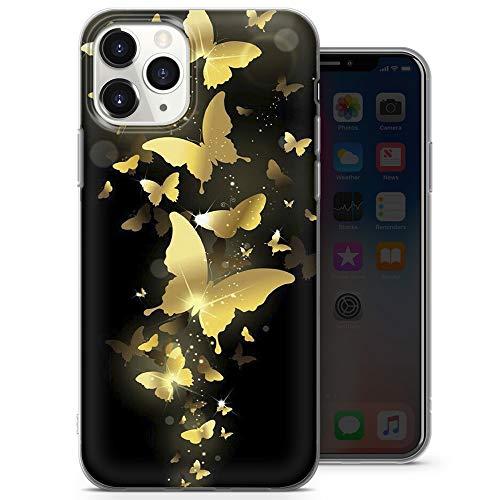 Funda para teléfono móvil con diseño de mariposa, color dorado, azul y negro, para iPhone 7+, iPhone 8+, iPhone 7+/8+, iPhone 7 Plus, iPhone 8 Plus, diseño 1 – A18