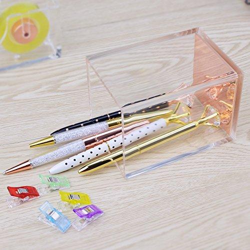 Rose Gold Acrylic Gold Pen Pencil Holder, Desktop Stationery Organizer,Office Desk Accessory Photo #7