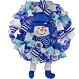 Winter Snowman Christmas Mesh Outdoor Front Door Wreath - White Turquoise Blue Silver