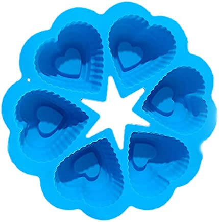 BESTONZON Silicone Cake Mold Flower Shape Silicone Cupcake Liners Baking Cups for Cake Pudding Chocolate Jelly Candy Soap 6 Lattices (Blue)