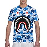 Hip Hop Short Sleeve T-Shirt for Mens Boys Youth, Blue Bapes Camouflage Blue Summer Athletic Henley Shirt, Holiday Yoga Tennis Fast Dry Daily Wear, Crewneck, Moisture Wicking