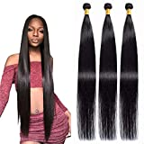 Maxine Hair 10A Brazilian Virgin Straight Hair 3 Bundles 100% Unprocessed Long inch Human Hair Weave Extensions Natural Color Can Be Dyed and Bleached (3 Bundles 40 inch)