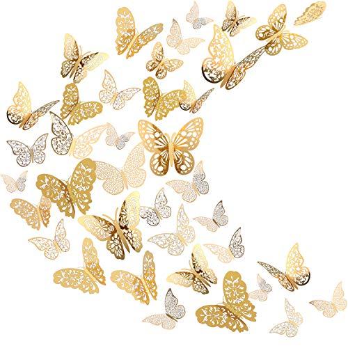 Pegatina de Pared de Mariposa 3D Adornos de Volador Decoración de Arte en 6 Estilos Diferentes para Adornos de Dormitorio Hogar Guardería Aula Oficina, Dorado 72 Piezas