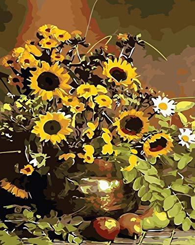 wen wall1 Pintura por Números para Adultos paisajes Arte DIY Pintura por Números Imagen del Nacido como Flores de Verano Decoración hogareña Modular 40x50 cm sin Marco
