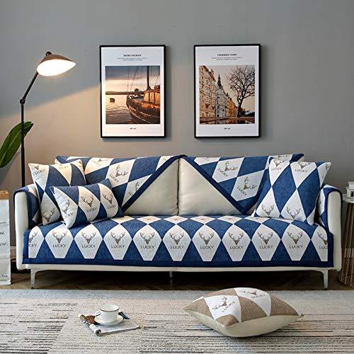 Forma L Protector De Muebles Cubierta Reclinable Cubierta Del Sillón,Antideslizante La Funda Para Sofa Moderno Protector De Sofá Para Mascotas,Universal Fundas Para Sofa-Azul marino 110x180cm(43x71inc