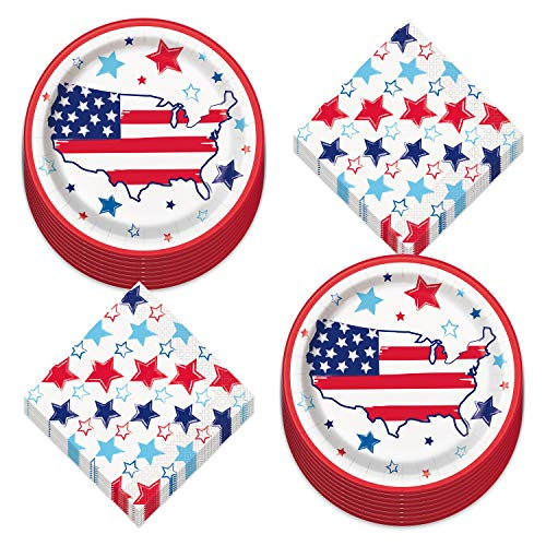 Patriotic America Paper Dinner Plates and Bright Stars Luncheon Napkins in Red, White, and Blue (Serves 16)