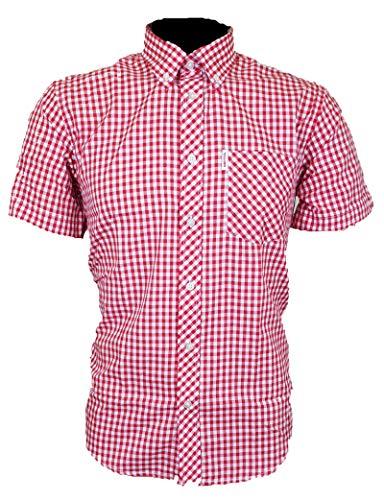 Brutus Herren Hemden MOD Kariert Pocket T-Shirt UK S-2XL Gr. M, Rotes Gingham.