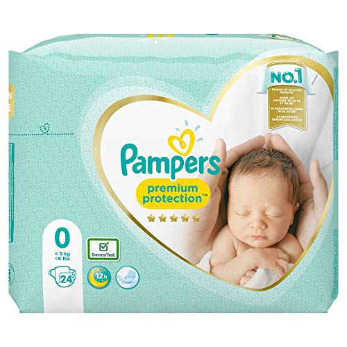 Pampers Premium Protection Windeln, Gr. 0, <3kg, Halbmonatsbox (1 x 24 Windeln)