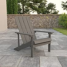 Flash Furniture Charlestown All-Weather Poly Resin Wood Adirondack Chair in Gray