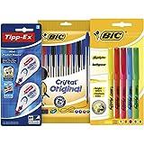 BIC y Tipp-Ex Set Vuelta al Cole de 10 Bolígrafos Surtidos, 5 Marcadores Fluorescentes y ...