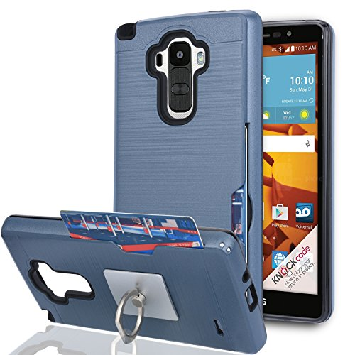 LG G4 Stylus Case,LG G Stylo Case (Not Fit LG G4) with Phone Stand,Ymhxcy [Credit Card Slots Holder][Brushed Texture] Dual Layer Shockproof Protective Cover for LG LS770-LCK Metal Slate