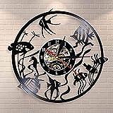 GVSPMOND Disco de Vinilo Reloj de Pared decoración del hogar diseño Moderno Peces de Colores Arte de Pared Reloj de Pared Reloj de Pared jardín de Infantes decoración del Acuario Reloj de Pared