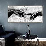 Cuadro en lienzo con diseño de la mano de Dios Creación de blanco y negro sobre lienzo, para decoración de salón, 80 x 160 cm, sin marco