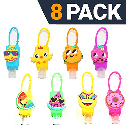KINIA 8 Pack Mixed Kids Hand Sanitizer Travel Sized Keychain Carriers - 8-1 fl oz Flip Cap Reusable Portable Bottles (8-Variety Pack MIXED)