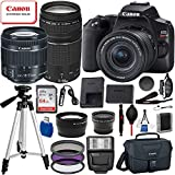 """Canon EOS Rebel SL3 DSLR Camera (Black) with 18-55mm is STM and 75-300mm III USM Essential Bundle: Includes – 64GB SanDisk Highspeed Memory Card + 50"""" Tripod + Professional Canon Bag + More"""
