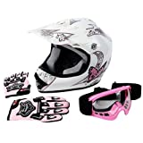 TCMT DOT Certified Youth Pink Butterfly Dirt Bike ATV Offroad Street Motorcycle Motocross Helmet Goggles Gloves (XL)