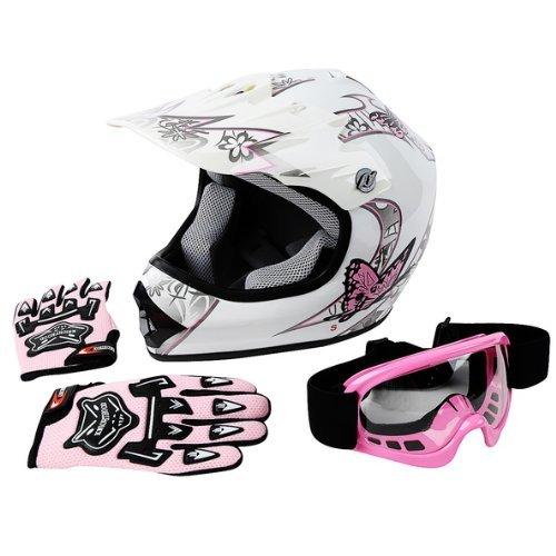 TCMT DOT Certified Youth Pink Butterfly Dirt Bike ATV Offroad Street Motorcycle Motocross Helmet Goggles Gloves (XL)