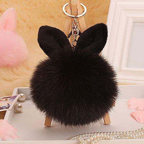 Bluelans® Schlüsselanhänger aus Kunstfell Kaninchen Fellbommel Bommel Geburtstagsgeschenk Taschenanhänger (Schwarz)
