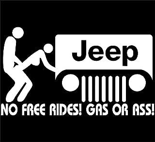 LLI Jeep No Free Rides Decal Vinyl Sticker|Cars Trucks Vans Walls Laptop| White |5.5 x 3.5 in|LLI146