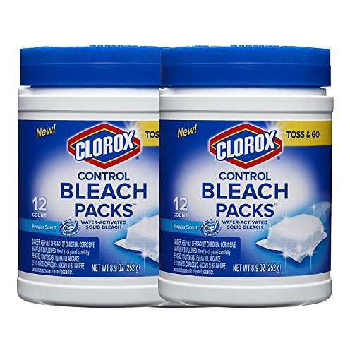 Clorox Control Regular Bleach Packs, Water Activated Solid Bleach, Toss and Go, Regular Scent, 12 Count, (2 Pack)