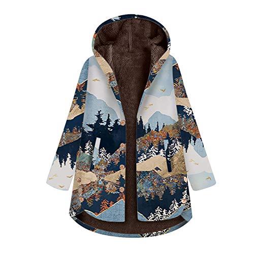 Yazidan - Chaqueta de invierno para mujer, diseño vintage con estampado de flores, talla grande, forro polar Navy 3X-Large