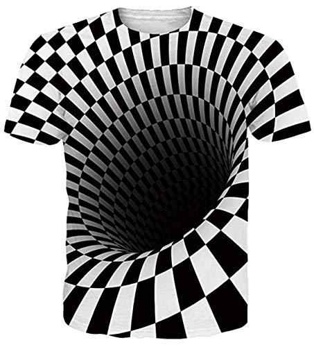 uideazone Herren T-Shirts 3D Muster Kurzen Ärmels Kurzarm Shirt Sport Fitness T-Shirt Rundhalsausschnitt Lässige Graphics Tees (Cool Swirl 6, XL)