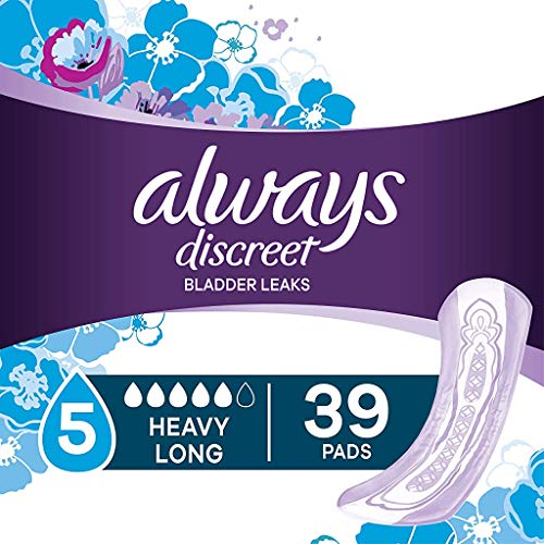Always Discreet, Incontinence Pads for Women, Maximum, Long Length (Packaging May vary), Purple, 39 Count