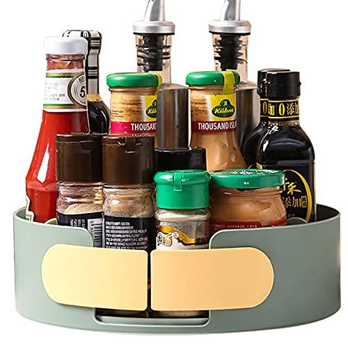 RUNS Plato Giratorio para Cocina, especiero Giratorio Organizador Giratorio de Cocina, Estante de Especias de Plástico para Tarros de Especias, Botellas (Azul 25 * 8cm)