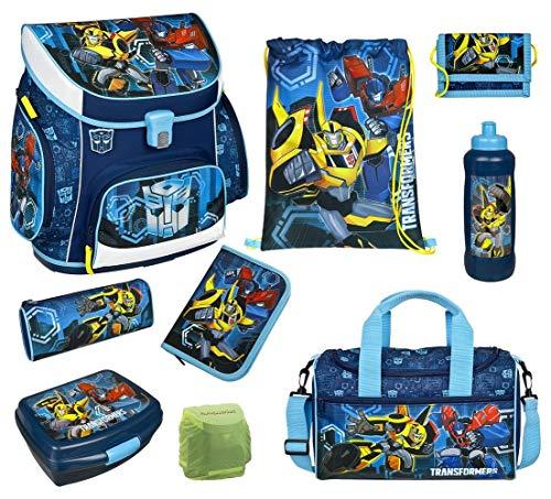 Familando Transformers Schulranzen-Set 9tlg. mit Federmappe, Brotzeit-Dose, Trink-Flasche, Sporttasche und Regenschutz
