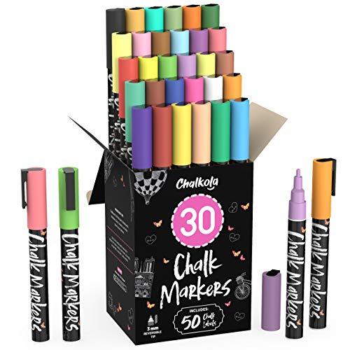 Fine Tip Chalk Markers (30 Pack - Neon & Pastel) Chalk Pens - Dry Erase Marker Pens for Blackboard, Chalkboards Signs, Windows, Bistro - 3mm Reversible Tip - 50 Chalkboard Labels Included