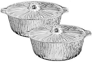 Propack Aluminum Disposable Pots With Lids large 5.5 Quarts Pack of 2 Disposable Aluminum pots
