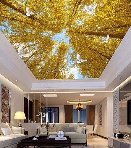 Panany 3D-Wandbild, Motiv: Bäume, Taube, Wandbilder für Wände, Schlafzimmer, Flur, 3D-Wand-Deckenbild, 3D-Blumen-Wandaufkleber, 400 x 280 cm, selbstklebendes PVC