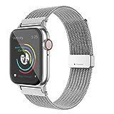 BRG コンパチブル Apple Watch バンド ステンレス留め金製 ミラネーゼループ コンパチブル アップルウォッチバンド コンパチブル Apple Watch 6/5/4/3/2/1/SEに対応(38mm/40mm,シルバー)