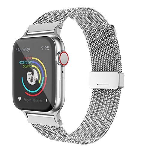 BRG コンパチブル Apple Watch バンド ミラネーゼループ コンパチブル アップルウォッチバンド ステンレス留め金製 コンパチブル Apple Watch ベルト コンパチブル Apple Watch SE/6/5/4/3(42mm/44mm,シルバー)