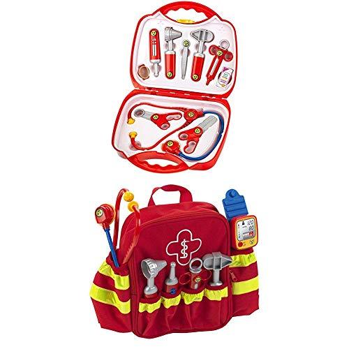 Theo Klein 4383 - Arztkoffer 10-teilig, 27cm + Rescue backpack, Rettungs-Rucksack, Spiel