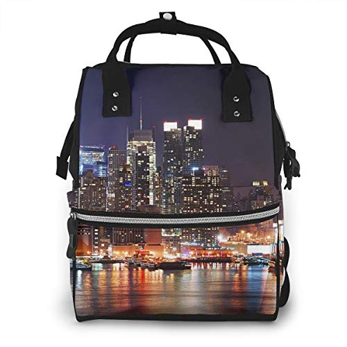Empire State Building in NYC Fashion Diaper Bags Mummy Backpack Multi Functions Waterproof Large Capacity Nappy Bag Nursing Bag for Baby Care for Traveling