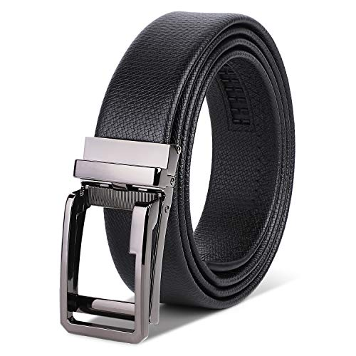 HANCHAO Cinturón Hombre Cuero con Hebilla Trinquete Automática Cinturón Negocio Negro 3,5 cm Ancho Cinturón Negro3-120