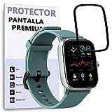REY Protector de Pantalla Curvo para AMAZFIT GTS 2 Mini, Negro, Premium, 3D / 4D / 5D, Anti Roturas