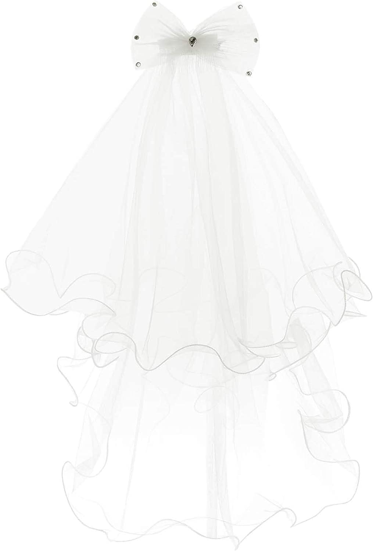 renvena Kids Girls First Communion Veils with Bowknot Flower Girl High-Low Hem Wedding Headpiece Veil