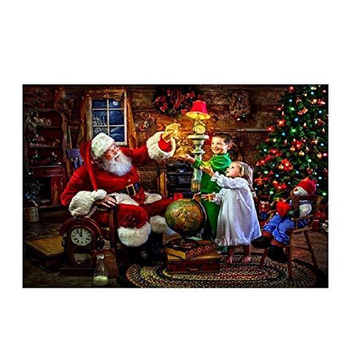 Kit de pintura de diamante 5D redondo completo con diamantes de imitación para adultos, bordado artes, decoración del hogar, Papá Noel y gato durmiendo por The Fireplace 39,7 x 30 cm por Greatminer