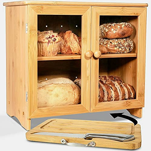 LuvURkitchen Large Bread Box for Kitchen countertop, Cutting Board, and Stainless Steel Bread Knife. Fully Adjustable shelf. (easy Self-assembly bread boxes)