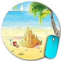 KAPANOU ラウンドマウスパッド カスタムマウスパッド、ヤシの木の貝殻と砂の城と海岸のビーチイラスト、PC ノートパソコン オフィス用 円形 デスクマット 、ズされたゲーミングマウスパッド 滑り止め 耐久性が 200mmx200mm