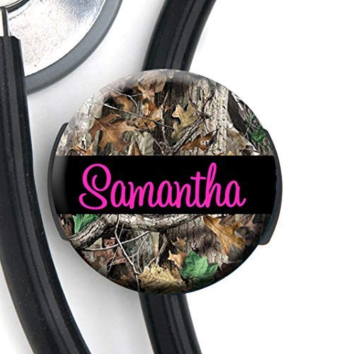HM - Stethoscope Tag - Camo Pink Text - Personalized Name - Steth ID Tag Nurse Badge