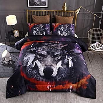 A Nice Night Multicolor Galaxy Feral Wolf Printed,for Boys and Girls Quilt Comforter Sets with Pillowcases Child Bedding Sets  Multi-A Queen