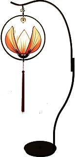 Lampadaire Antique style chinois Lotus Lampadaire Tissu Abat Fer forgé Lampe sur pied 1.7M avec commutateur au pied pour B...