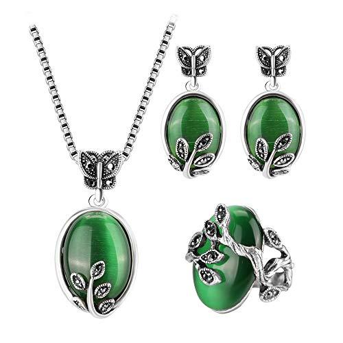HMANE Kinel Natural Verde Opal Vintage joyería Conjuntos de Plata Antigua Color Grande Anillos Colgante Collar para Las Mujeres 2017 Nuevo