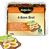 Schlünder 4-Korn-Brot - Vollkornbrot mit Dinkel, Leinsamen, Haferflocken & Sesam, 100% natürlich & vegan, nährstoffreiches Vierkorn-Brot, reich an Ballaststoffen & Mineralstoffen, 500g